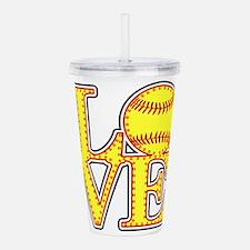 Love Softball Stitches Acrylic Double-wall Tumbler