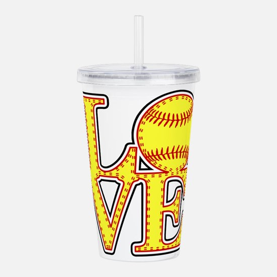 Love Softball Stitches Acrylic Double-wall Tumbler