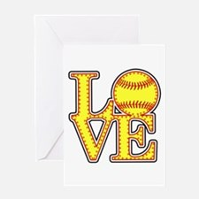 Love Softball Stitches Greeting Cards