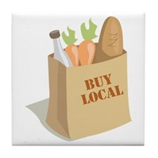 Groceries_Buy_Local Tile Coaster