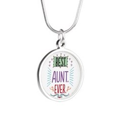 Best Aunt Ever Silver Round Necklace