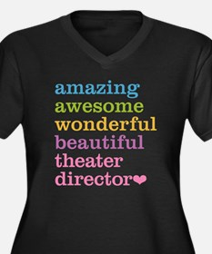 Theater Dire Women's Plus Size V-Neck Dark T-Shirt