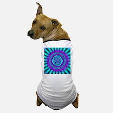 Teal and Purple Mind Warp Fractal Dog T-Shirt