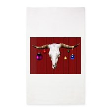 Cow Skull with Christmas Ornaments on Red Area Rug