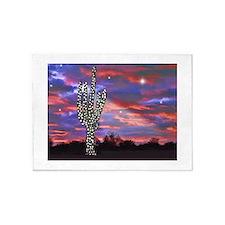 Christmas Lights Saguaro Cactus Sil 5'x7'Area Rug