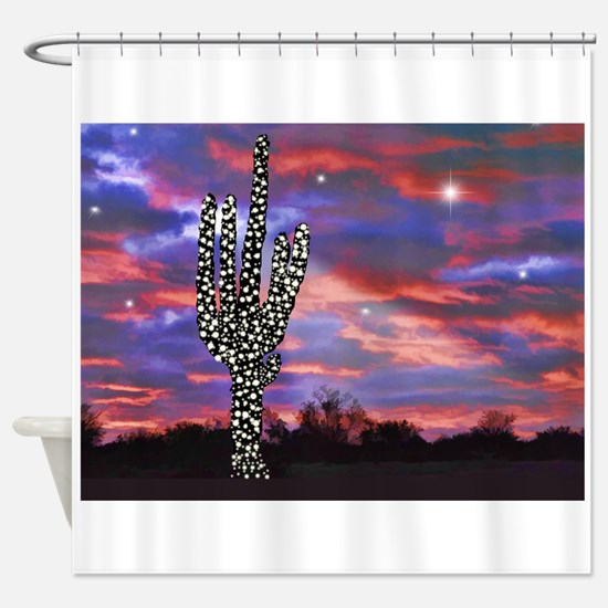 Christmas Lights Saguaro Cactus Sil Shower Curtain