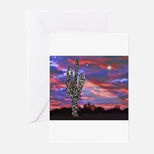 Christmas Lights Saguaro Cactus Sil Greeting Cards