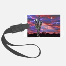 Christmas Lights Saguaro Cactus Luggage Tag