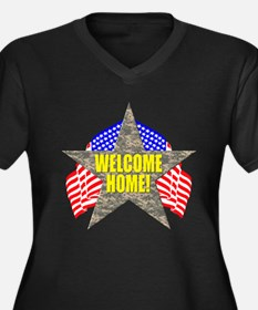 USA Troops Welcome Home Women's Plus Size V-Neck D