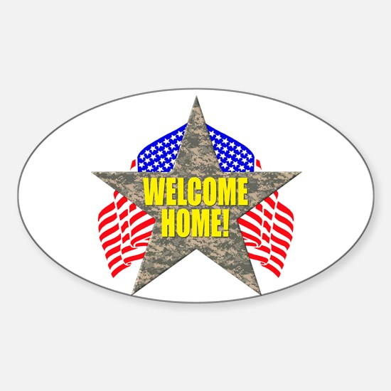 USA Troops Welcome Home Oval Decal