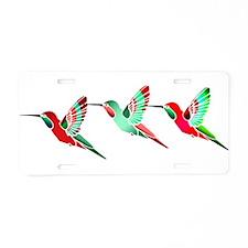 Xmas Hummingbirds Aluminum License Plate