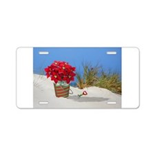 Pointsettia in a Sand Pail Aluminum License Plate