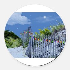 Beach Fence and Dune for Christma Round Car Magnet