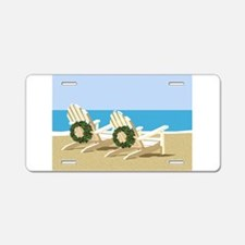Beach Chairs with Wreaths Aluminum License Plate