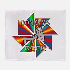 Donkeys Rock Throw Blanket