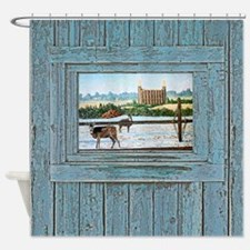 Logan temple oil painting Shower Curtain