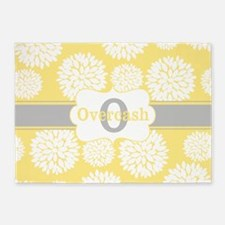 Yellow Gray Floral Personalized 5'x7'Area Rug