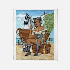 Cute The pirate king ship sail Throw Blanket