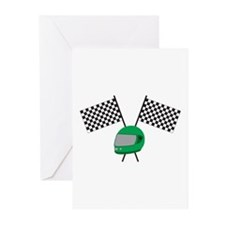 Checkered Flag Helmet Greeting Cards