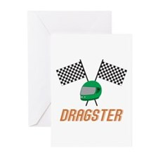 Dragster Flags Greeting Cards