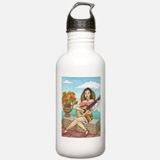 Cute Girl acoustic guitar Water Bottle