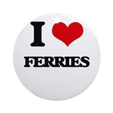 I Love Ferries Ornament (Round)