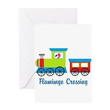 Flamingo Crossing Train Greeting Cards