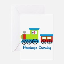 Flamingo Crossing Train Greeting Cards