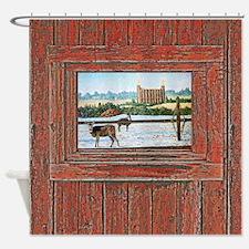 Logan temple oil painting r Shower Curtain