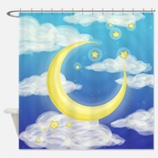 Moon Blue Shower Curtain