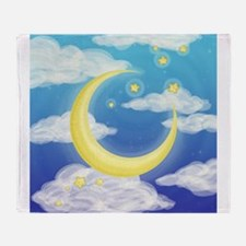 Moon Blue Throw Blanket