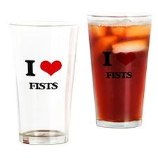 I Love Fists Drinking Glass