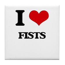 I Love Fists Tile Coaster