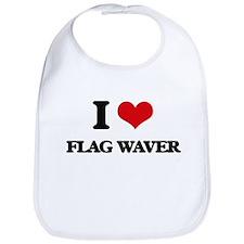 I Love Flag Waver Bib