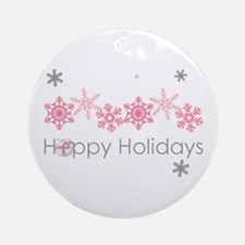 Pink Snkowflake Holidays Ornament (round)