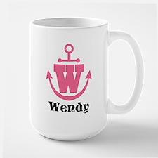 Custom Anchor Monogram W Mugs