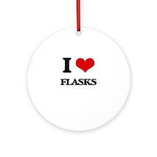 I Love Flasks Ornament (Round)