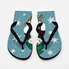 Snowman Blue Snow Flip Flops