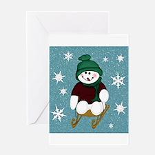 Snowman Blue Snow Greeting Cards