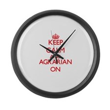 Keep Calm and Agrarian ON Large Wall Clock