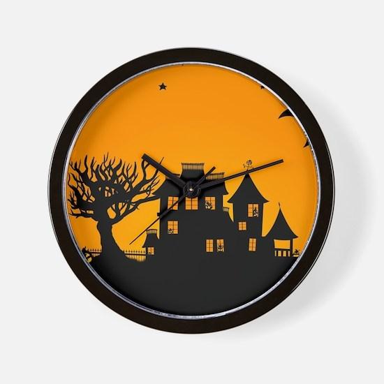 Halloween Manor Wall Clock