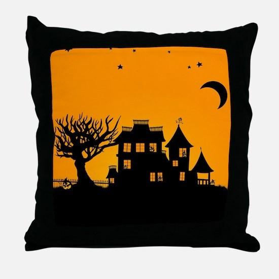 Halloween Manor Throw Pillow