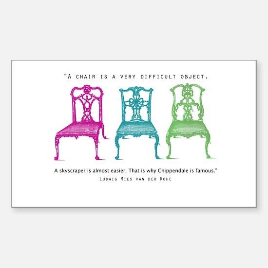 Mies van der Rohe/Chip-Chairs Sticker (Rectangular