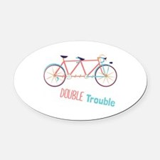 Double Trouble Oval Car Magnet