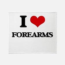 I Love Forearms Throw Blanket