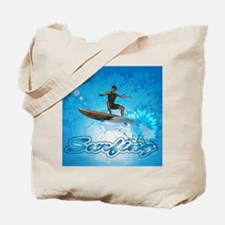 Surf boarders on blue background with flowers Tote
