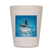 Surf boarders on blue background with flowers Shot