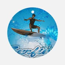 Surf boarders on blue background with flowers Orna