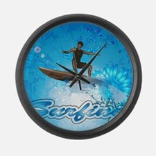 Surf boarders on blue background with flowers Larg