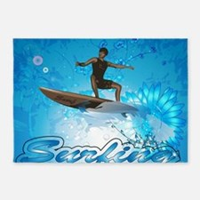 Surf boarders on blue background with flowers 5'x7